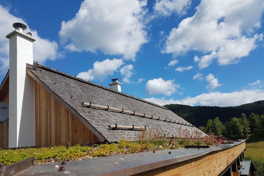 Na zimní zahradě byla použita zelená střecha s rozchodníky.Na střechu stodoly byl položen dřevěný alpský šindel s protisněhovými zábranami z kuláčů.